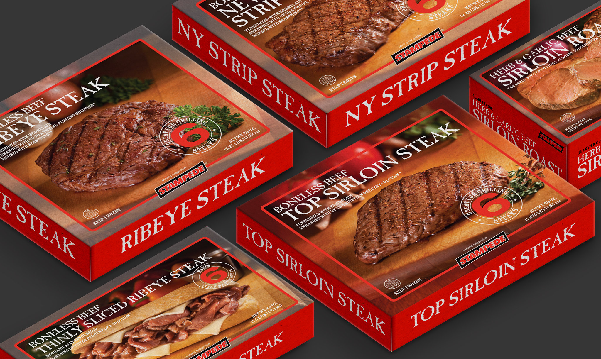 Stampede Meat Red Box Packaging