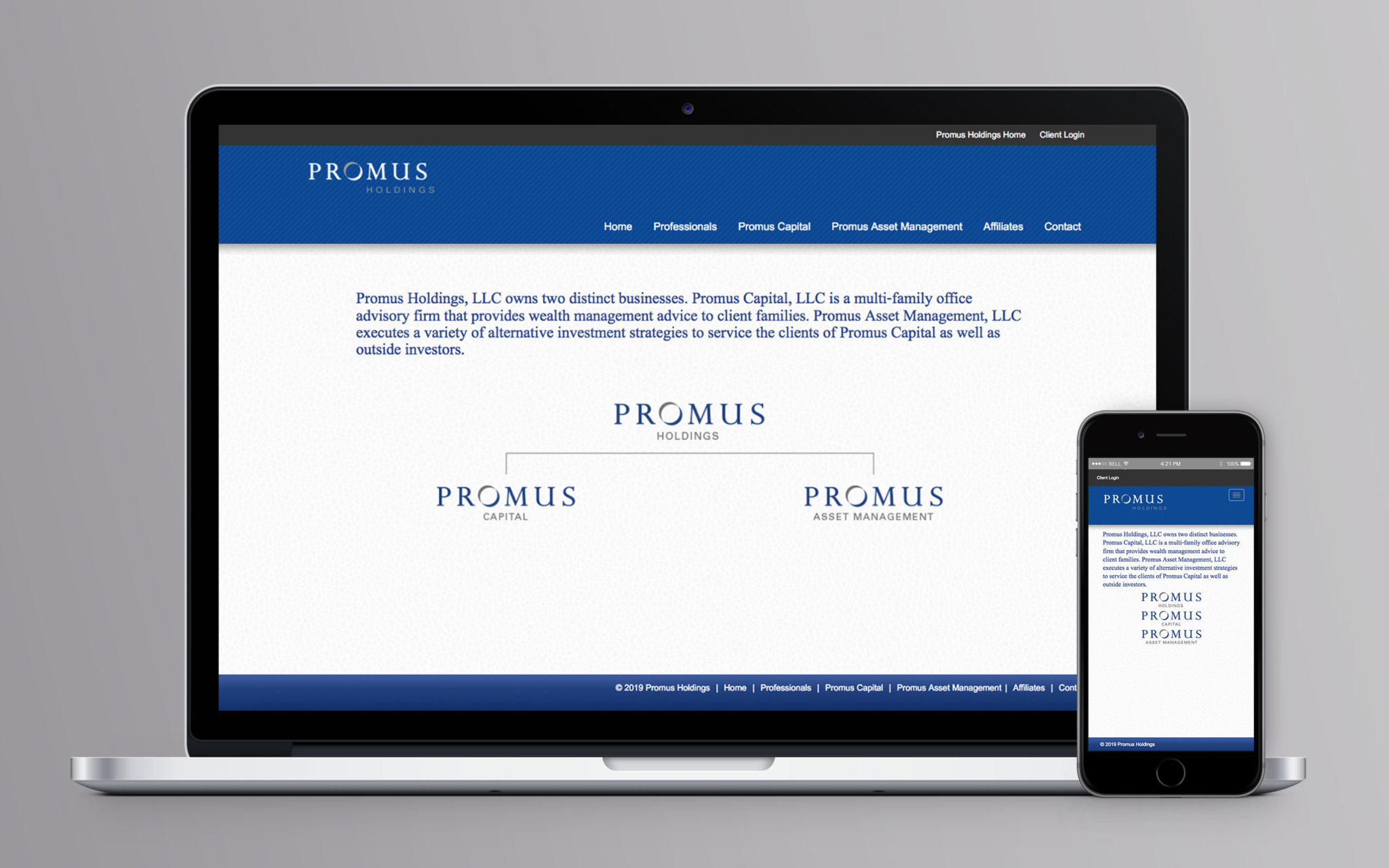 Promus Holdings Website Home