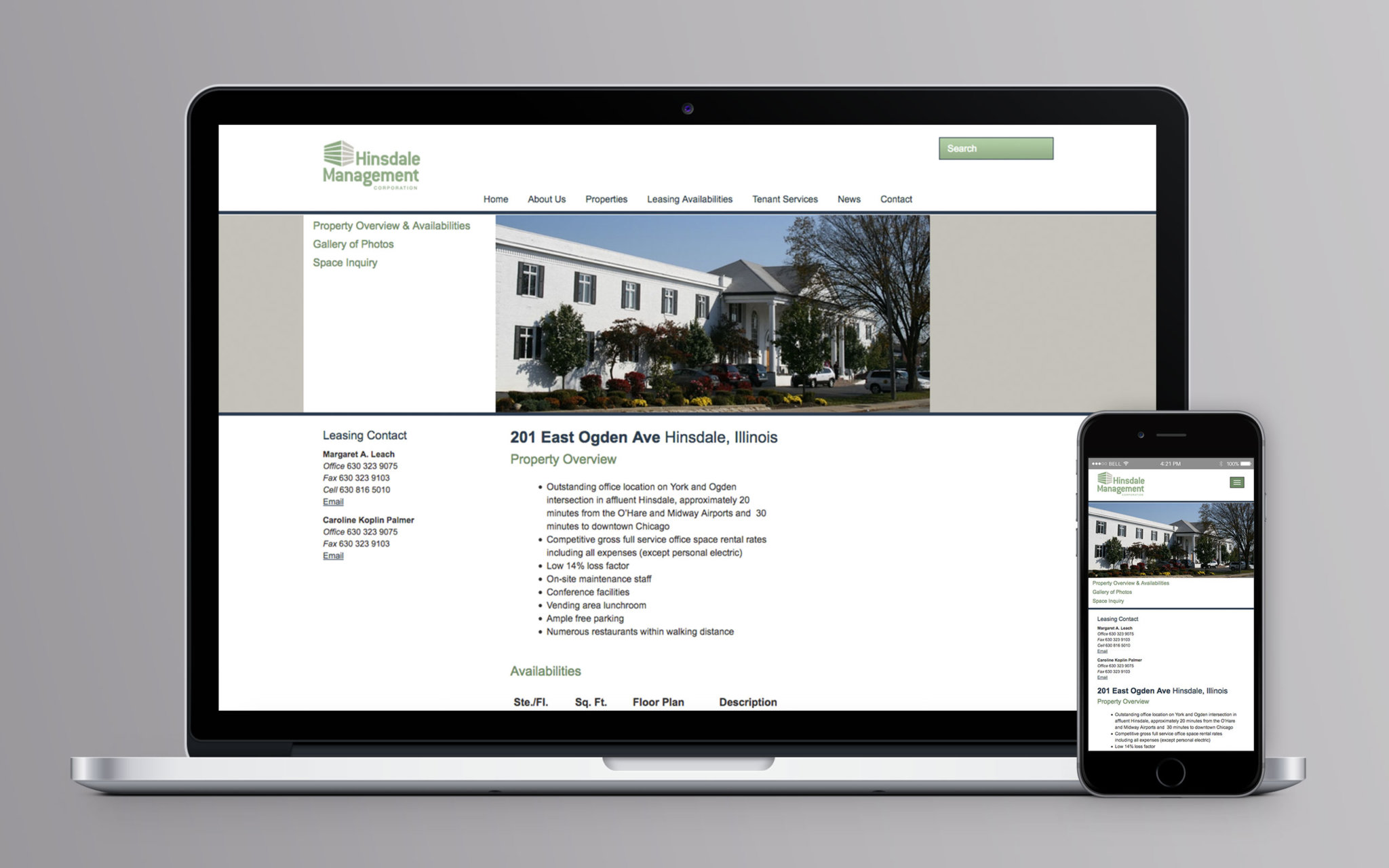 Hinsdale Management Corporation Website Property Overview