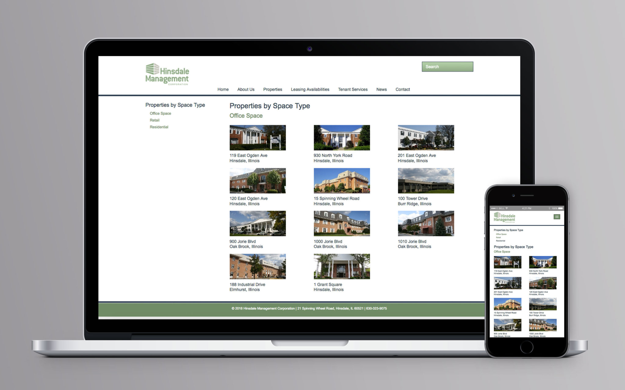 Hinsdale Management Corporation Website Space Type