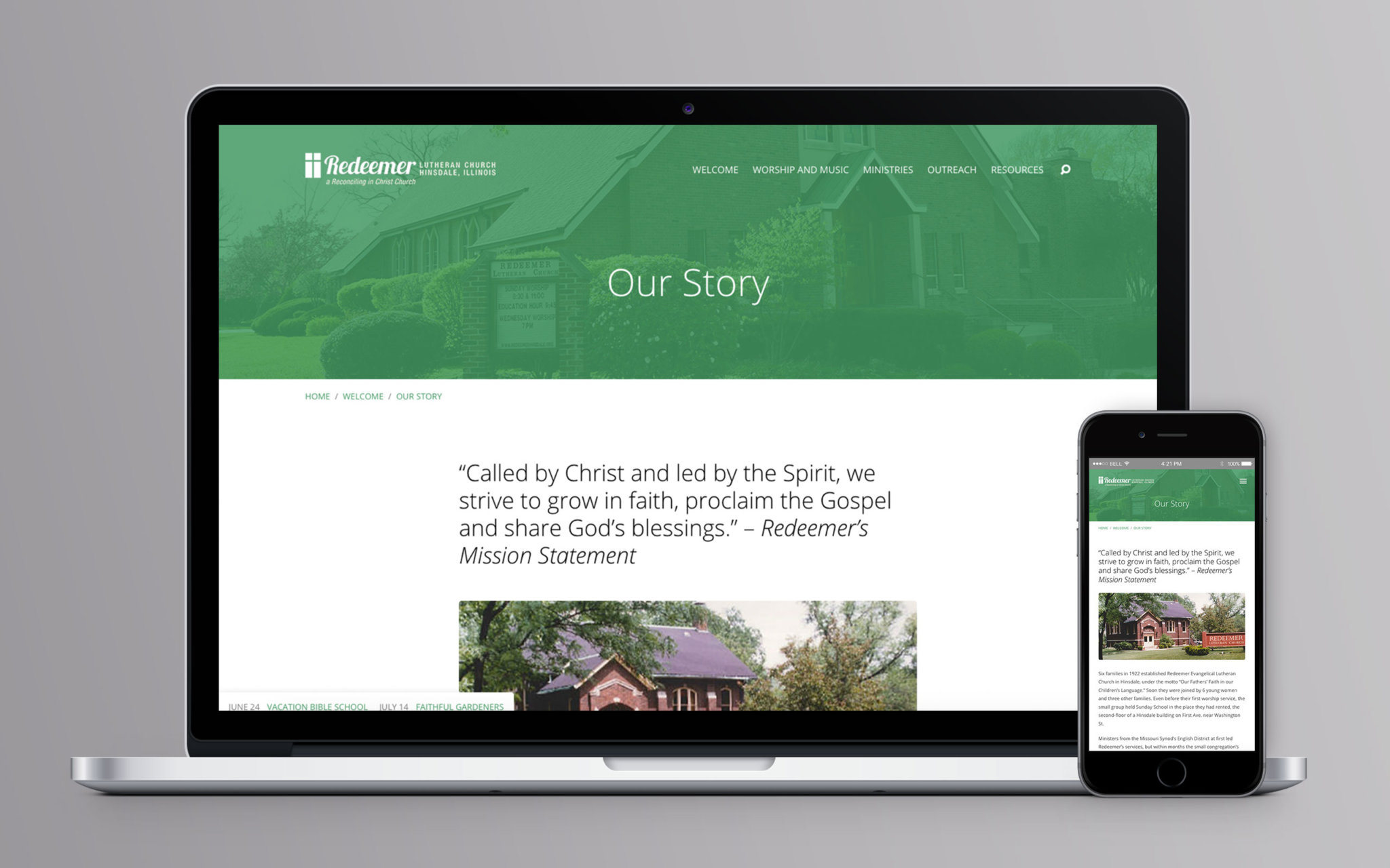 Redeemer Lutheran Church Website Story